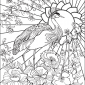printable coloring page - crane with sun and flowers